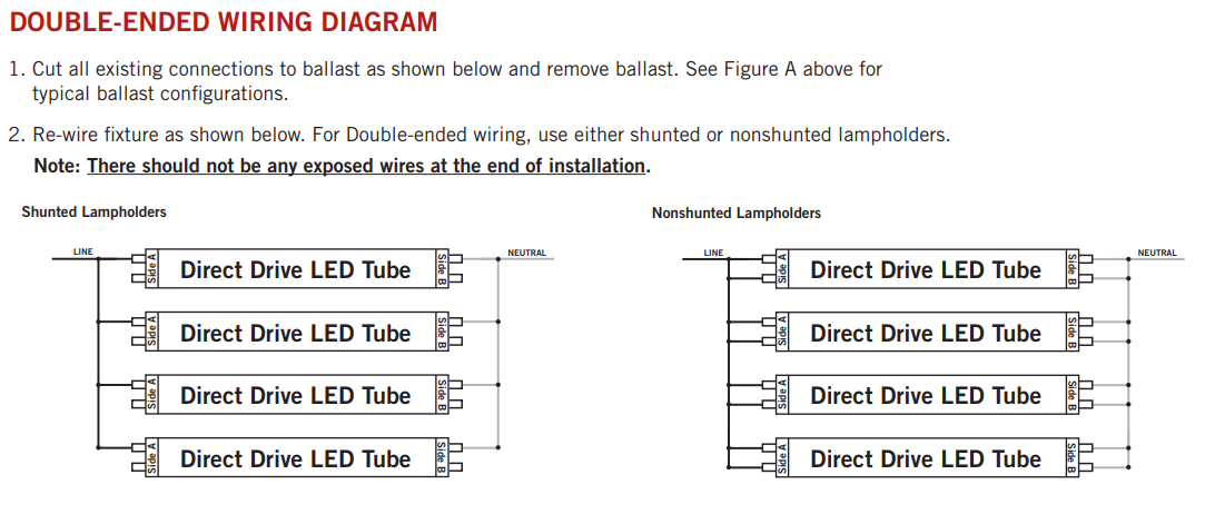 fluorescent wiring diagrams row the differences between double ended and single ended led tubes  double ended and single ended led tubes